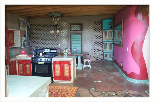 The kitchen is large and open as well as colorful
