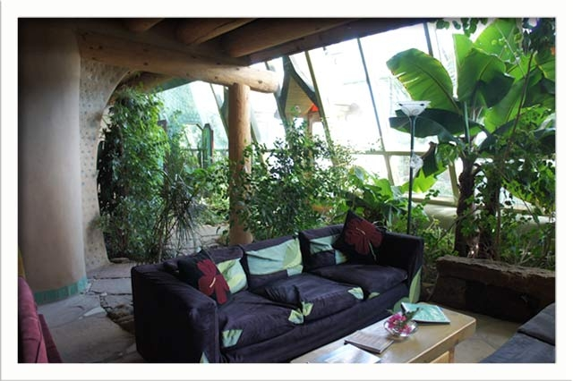 A second seating area in the living room overlooking the greenhouse