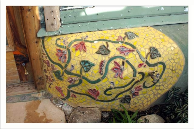 Yet another mosaic at the entry from the greenhouse