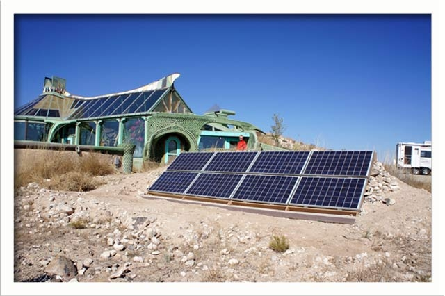 The off-grid home uses solar pv for electrical